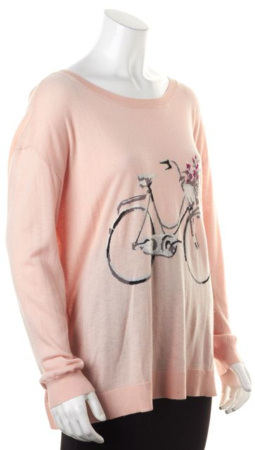JOIE Dusty Pink Gray Bicycle Graphic Thin Knit Crewneck Sweater