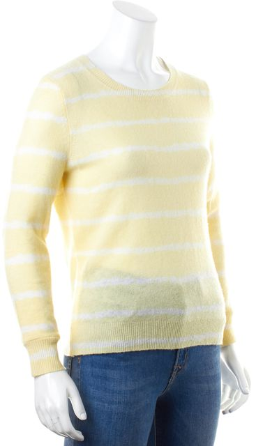 JOIE Yellow White Striped Knit Long Sleeve Fitted Crewneck Sweater