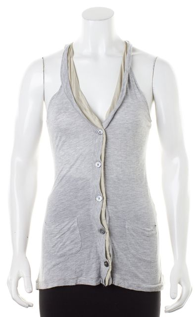 JOIE Heather Gray Jersey Beige Silk Trim Button Down Racerback Tank Top