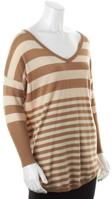 JOIE Beige Striped Long Sleeve V-Neck Relaxed Fit Knit Top