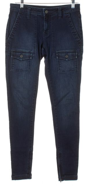 JOIE Blue Dark Wash Ankle Zip Patch Pockets So-Real Skinny Jeans