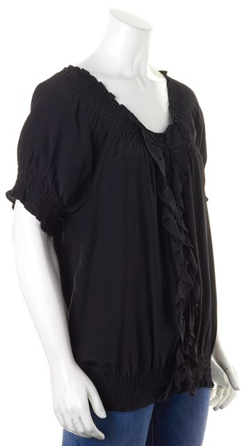 JOIE Black Silk Ruffled Button Front Cap Sleeve Blouse