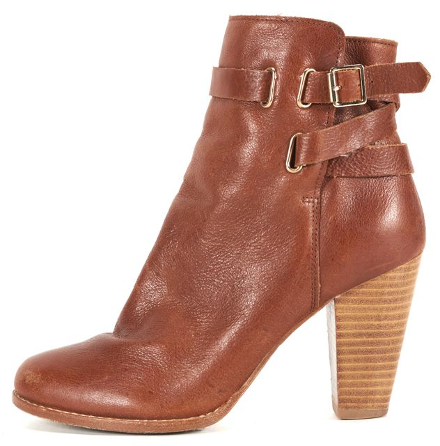 JOIE Light Brown Leather Belted Ankle Boot Heels
