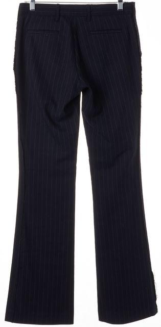 JOIE Blue Beige Pinstriped Frayed Fringe Trim Flared Leg Dress Pants