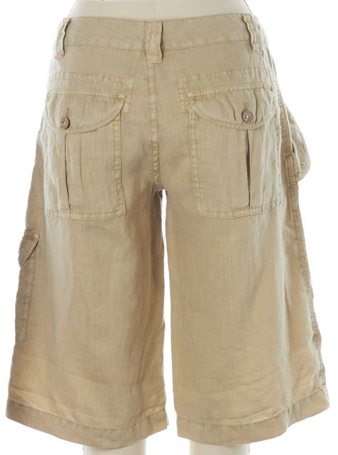 JOIE Beige Linen Cargo Bermuda Walking Shorts