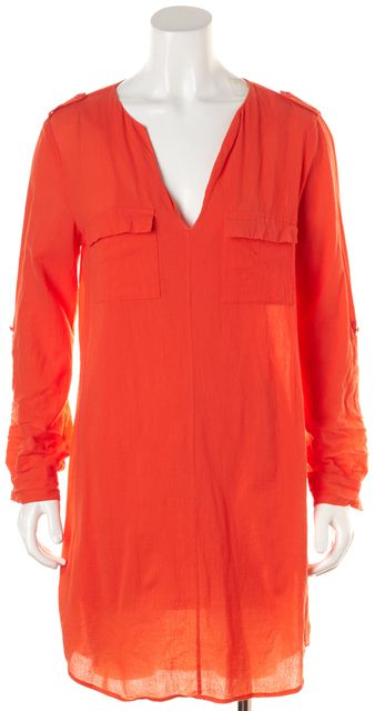 JOIE Orange Cotton Above Knee V-Neck Shirt Dress