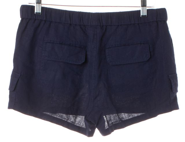 JOIE Navy Blue Linen Drawstring Stretch Waist Cargo Pockets Casual Shorts