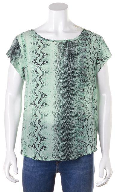 JOIE Mint Green Black Snake Printed Silk Cap Sleeve Blouse Top