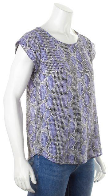 JOIE Periwinkle Blue Gray Snake Printed Silk Cap Sleeve Blouse