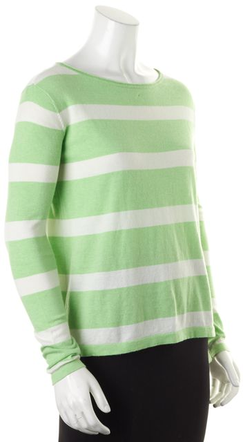 JOIE Green White Striped Cotton Silk Long Sleeve Knit Top
