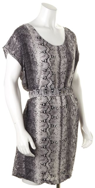 JOIE Black Gray Snakeskin Print Silk Cap Sleeve Blouson Dress