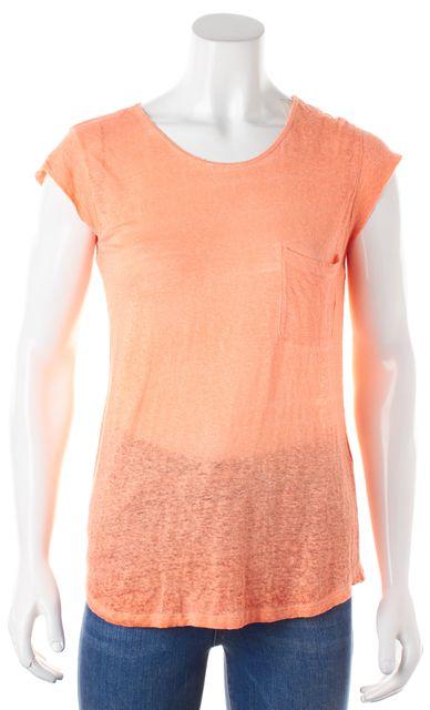 JOIE Heather Orange Linen Cap Sleeve Basic T-Shirt