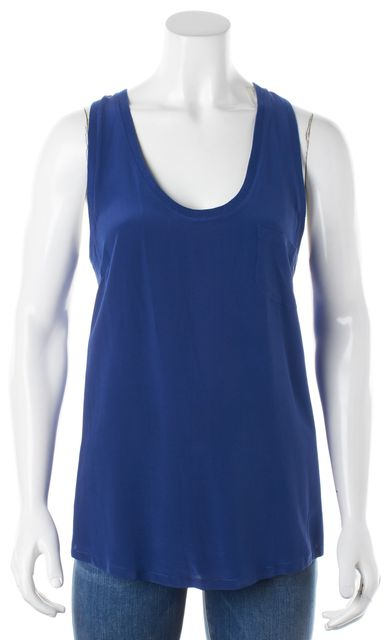 JOIE Royal Blue Silk Racerback Scoop Neck Blouse Tank Top