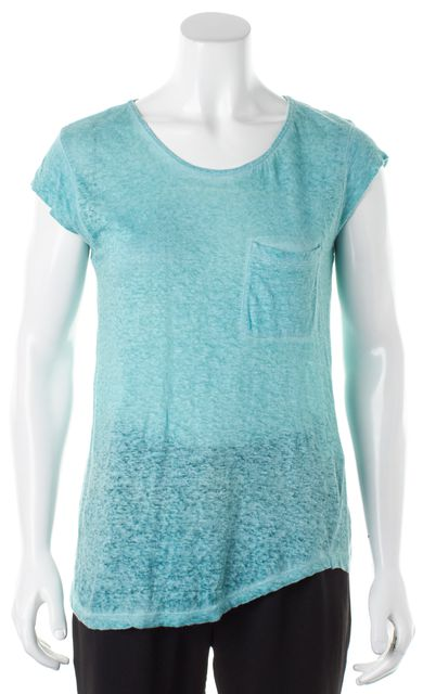 JOIE Heather Aqua Blue Linen Cap Sleeve Crewneck Basic T-Shirt