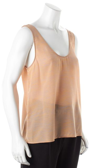 JOIE Orange Purple Zebra Print Silk Semi Sheer Tank Top