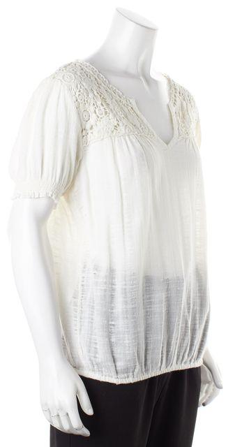JOIE White Floral Crochet Trim Cotton Short Sleeve Blouse
