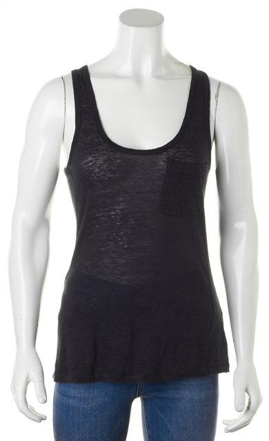 JOIE Heather Black Linen Scoop Neck Semi Sheer Tank Top