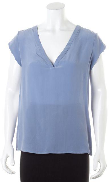 JOIE Daydream Blue Silk Cap Sleeve V-Neck Rubina Blouse