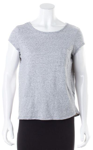 JOIE Gray White Striped Cap Sleeve Crewneck Basic T-Shirt