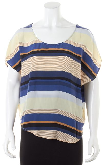 JOIE Blue Beige Striped Silk Cap Sleeve Blouse Top