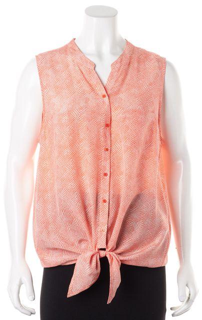 JOIE Orange White Silk Geometric Sleeveless Button Down Blouse Blouse