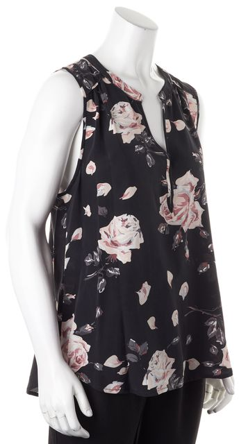 JOIE Black Gray Pink White Floral Silk Sleeveless Blouse