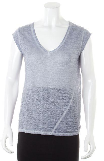 JOIE Light Heather Blue Linen Cap Sleeve V-Neck Basic Tee T-Shirt