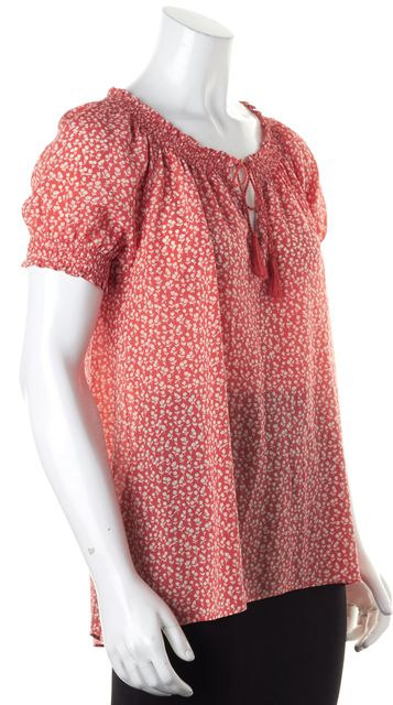 JOIE Pink White Floral Silk Short Sleeve Peasant Blouse