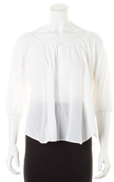 JOIE White Cotton Dolman Keyhole Front Semi Sheer Blouse