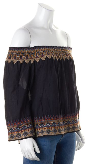 JOIE Black Blue Beige Embroidered Off-Shoulder Blouse