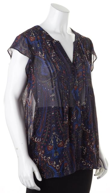 JOIE Navy Blue Red Abstract Silk Cap Sleeve Semi Sheer Blouse