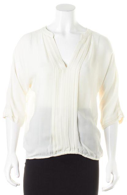 JOIE Ivory Silk 3/4 Sleeve V-Neck Semi Sheer Blouse