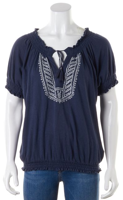 JOIE Navy Blue White Embroidered Linen Short Sleeve Peasant Top
