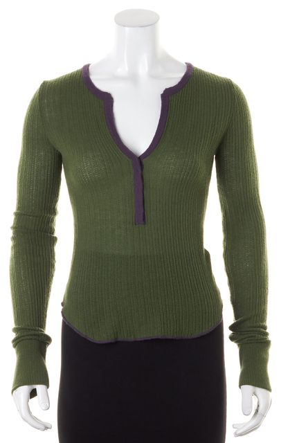 JOIE Green Purple Color-Block Cashmere Ribbed Knit Henley Top