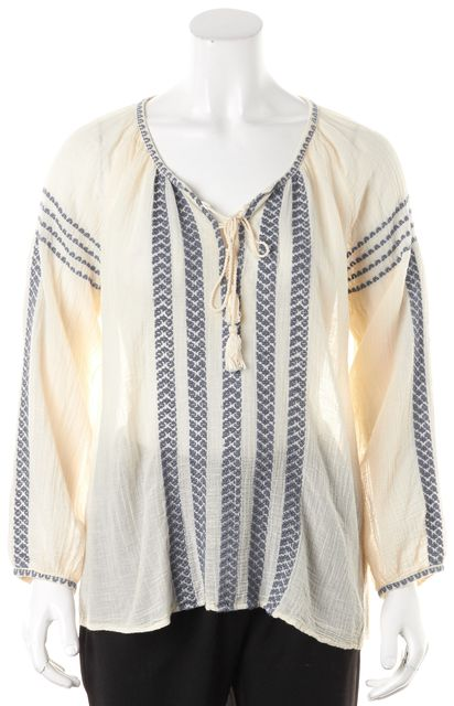 JOIE Ivory Blue Embroidered Cotton Long Sleeve Peasant Top