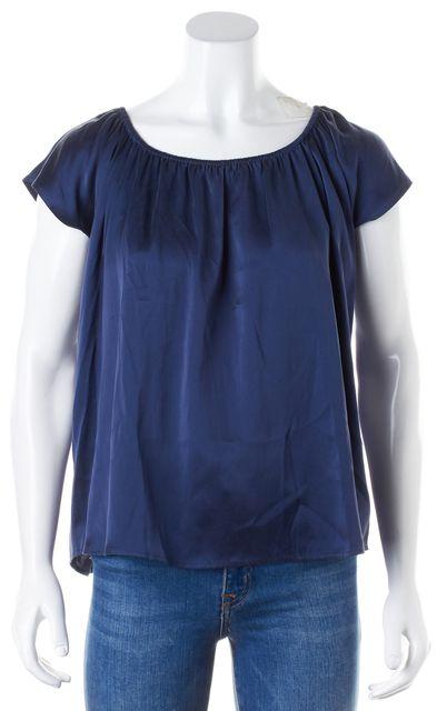 JOIE Navy Blue Silk Cap Sleeve Blouse