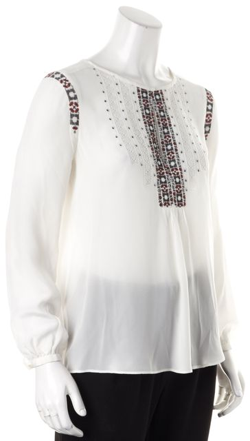 JOIE White Red Black Embroidered Lace Trim Silk Sheer Blouse