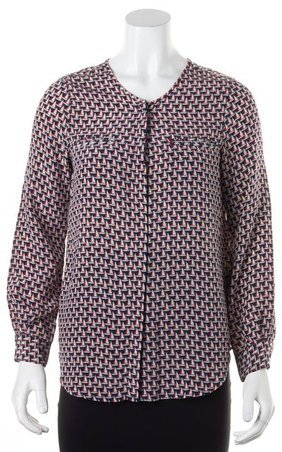 JOIE Blue Red Boat Print Silk Long Sleeve Button Front Blouse