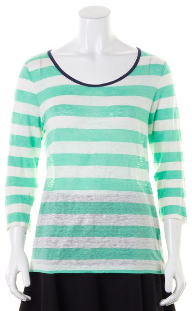 JOIE Green White Striped Linen Long Sleeve Crewneck T-Shirt