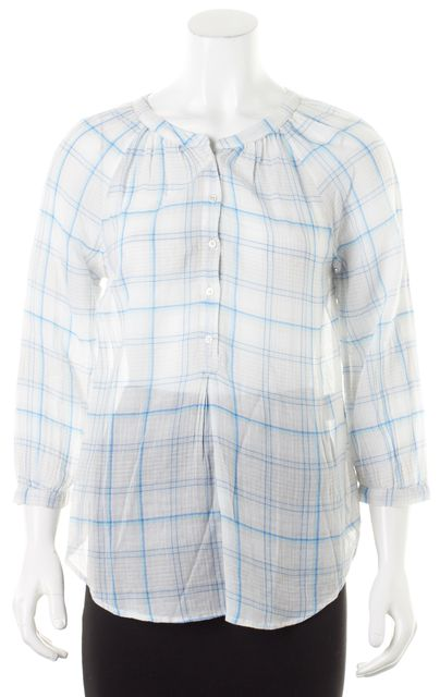 JOIE Blue White Plaid Print Long Sleeve Button Up Blouse