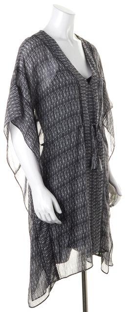 JOIE Black White Abstract Dolman Drawstring Waist Tunic Top