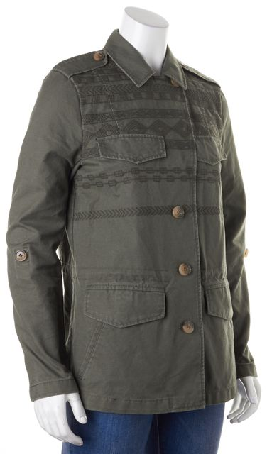 JOIE Army Green Embroidered Evandale Military Jacket