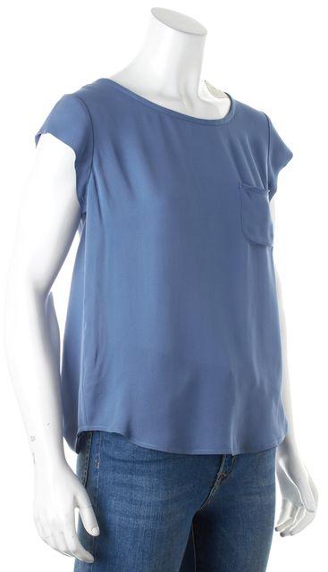 JOIE Cornflower Blue Silk Cap Sleeve Keyhole Back Blouse Top