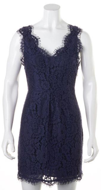 JOIE Navy Blue Floral Lace Sleeveless V-Neck Sheath Dress