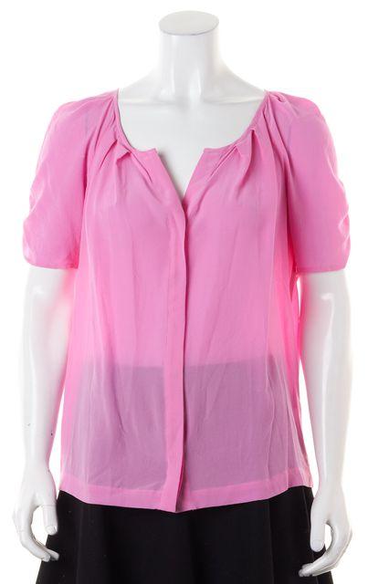 JOIE Tulip Pink Silk Sheer Short Sleeve Terabithia Top
