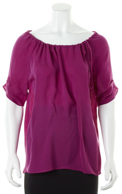 JOIE Purple Silk Side Neck Tie Short Sleeve Peasant Blouse Top