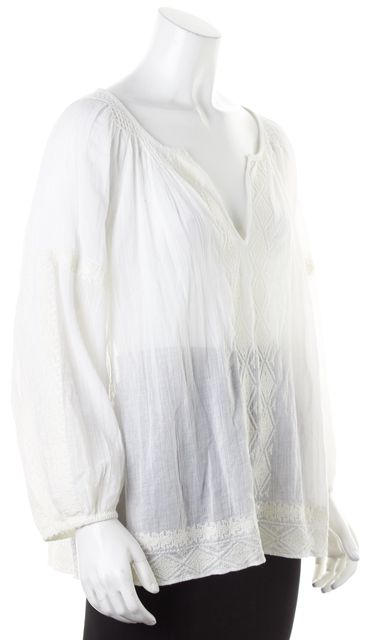 JOIE White Embroidered Sheer Cotton Long Sleeve Peasant Blouse