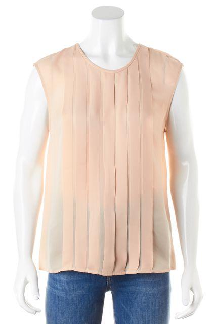 JOIE Blush Pink Silk Pleated Sleeveless Blouse Top