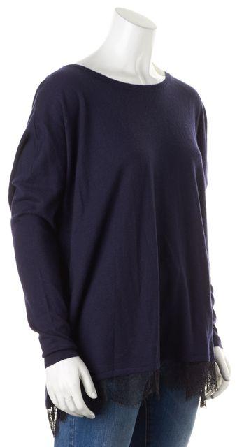 JOIE Navy Blue Black Lace Trim Low Back Crewneck Sweater