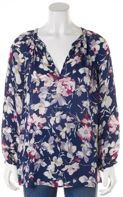 JOIE Navy Blue Pink White Floral Silk V-Neck Blouse Top